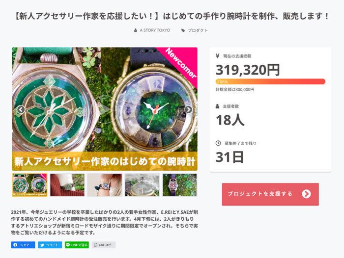 手作り腕時計 クラウドファンディング 目標金額達成